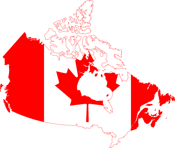 Outline map of Canada with Canadian flag